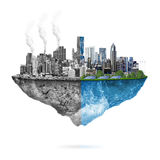 Green ecology vs. pollution Royalty Free Stock Image