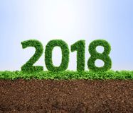 2018 green ecology year concept. 2018 is a good year for growth in environmental business. Grass growing in the shape of year 2108 Stock Images