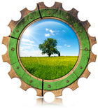 Green Economy - Icon with Gear Stock Image