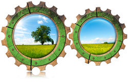Green Economy - Icon with Gears stock illustration