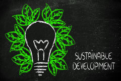 Green economy, leaves growing around an idea Stock Photography