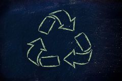 Green economy: recycle symbol on blackboard Royalty Free Stock Photography