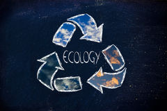 Green economy: recycle symbol on blackboard Royalty Free Stock Images