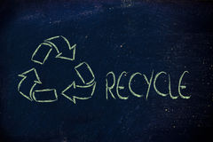 Green economy: recycle symbol on blackboard Royalty Free Stock Photos