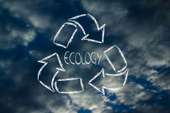 Green economy: recycle symbol with sky pattern Stock Photography