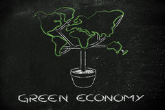 Green economy: symbol of tree with contintents as leaves Royalty Free Stock Photo