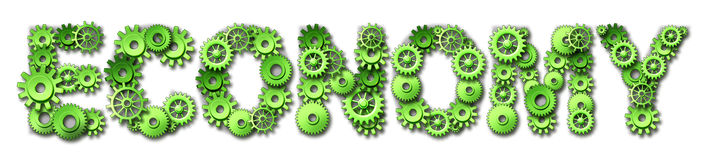 Green economy text symbol with gears and cogs Stock Photos