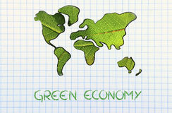 Green economy, world map covered by green leaves. Green economy and sustainable deveolpment, green leaves over continents Stock Photography