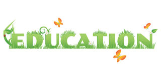 Green Education. /Education text decorated with,flowers,water drops and ladybug   on white Royalty Free Stock Images