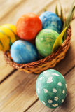 Green egg near Easter basket Stock Photography