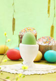 Green egg in base Royalty Free Stock Images