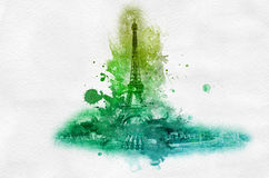Green Eiffel tower splatter paint graphic Royalty Free Stock Photos
