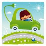 Green electric car Stock Photos