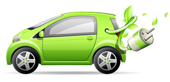 Green electric car Stock Images