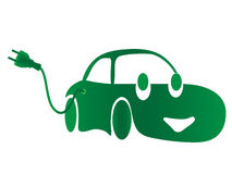 Green electric car. Green car with electric plug Stock Images