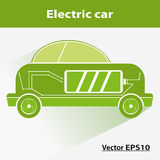 Green electric car with battery, nature. Icon car; Vector versio Royalty Free Stock Photos
