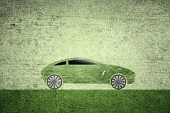 Green electric car icon background Stock Photo