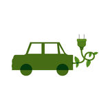 Green electric car with leaves and plug Royalty Free Stock Photos