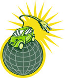 Green electric car world. Illustration of a Green electric car on top of world with plug coming out isolated on white Stock Image