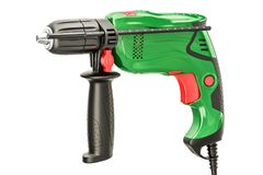 Green electric drill, 3D rendering Royalty Free Stock Photography