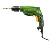 Green electric drill isolated Royalty Free Stock Photos