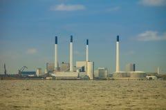 Green electric generator power plant. Power generator plant for renewable energy production, coast baltic sea near Denmark. Alternative green energy ecology Stock Photo