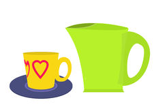 Green Electric kettle and yellow coffee cup Royalty Free Stock Image