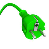 Green electric plug Royalty Free Stock Photo