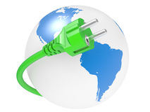 Green electric plug and earth Stock Photo