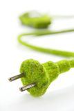 Green electric plug with eco car icon Stock Images