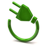 Green electric plug icon stock illustration