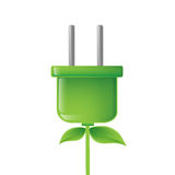 Green electric plug illustration Stock Images