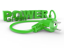 Green electric plug and inscription POWER Royalty Free Stock Image