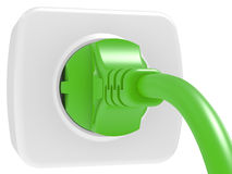 Green electric plug and power outlet Royalty Free Stock Photography