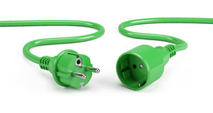Green Electric plugs isolated on white Royalty Free Stock Photo