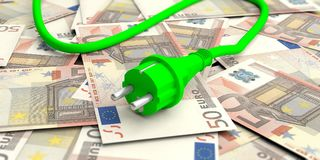 Green electric power plug on euros banknotes. 3d illustration. Green energy money savings. Green electric power plug on euros banknotes. 3d illustration Royalty Free Stock Images