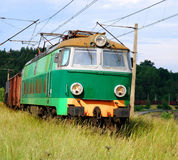 Green electric train Stock Images