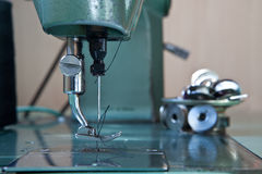 Green electrical sewing machine Stock Photo