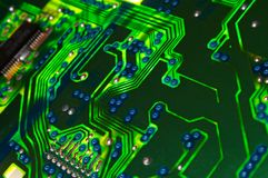 Green electronic board. Illuminated from bottom Stock Images