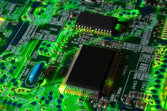Green electronic board. Illuminated from bottom Royalty Free Stock Images
