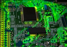 Green electronic board. Illuminated from bottom Stock Photography