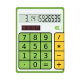 Green electronic calculator with a solar panel Royalty Free Stock Photos