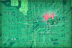 Green electronic circuit puzzle background Stock Image
