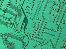 Green electronic microcircuit. Stock Photos