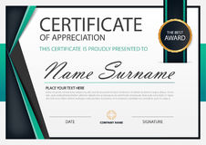 Green Elegance horizontal certificate with Vector illustration ,white frame certificate template with clean and modern pattern. Presentation stock illustration