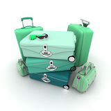 Green elegant luggage Royalty Free Stock Photo
