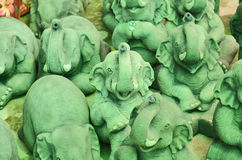 Green elephant sculptures Royalty Free Stock Photo