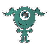 Green elf. Little green elf with big eye stock illustration