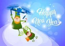 Green Elf Flying On Drone Present Delivery, Happy New Year Merry Christmas Holiday Banner. Flat Vector Illustration royalty free illustration