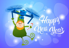 Green Elf Flying On Drone Present Delivery, Happy New Year Merry Christmas Holiday Banner Royalty Free Stock Image